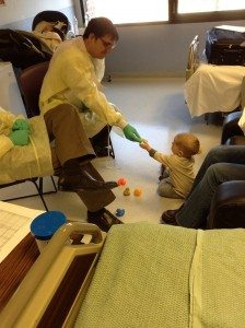 Playing with his doctors